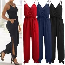 Sexy Overall mit Freiem Rücken V-Ausschnitt Schlitz Hoher Taille Volltonfarbe und Trägern