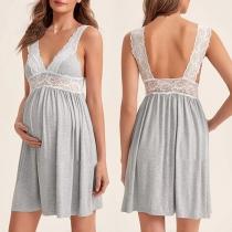 Sexy Umstandskleid mit Freiem Rücken V-Ausschnitt Spitzendesign und Trägern