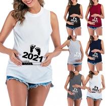 Einfaches Ärmelloses Schwangerschafts-T-Shirt mit Rundhalsausschnitt Fußabdruck-Motiv und Rundhalsausschnitt