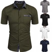 Modernes Hemd für Herren mit Karierten Akzenten Kurzen Ärmeln und Polo-Kragen