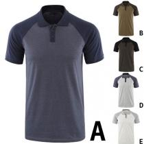 Modernes T-Shirt für Herren in Kontrastierenden Farben mit Kurzen Ärmeln Polo-Kragen