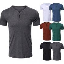 Lässiges T-Shirt für Herren mit Kurzen Ärmeln V-Ausschnitt und Volltonfarbe