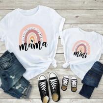 Lässiges Bedrucktes T-Shirt für Mutter und Kind mit Kurzen Ärmeln und Rundhalsausschnitt