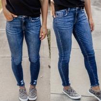 Moderne Jeans mit Mittelhoher Taille Schlanker Passform und Rissen