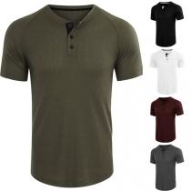 Einfaches T-Shirt für Herren mit Kurzen Ärmeln Rundhalsausschnitt und Volltonfarbe