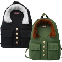 Moderner Rucksack aus Segeltuch mit Großem Inhalt und Kontrastierenden Farben