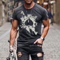 Lässiges Bedrucktes T-Shirt für Herren mit Kurzen Ärmeln Rundhalsausschnitt und Rundem Ausschnitt