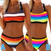 Sexy Bikini-Set mit Regenbogenstreifen und Niedriger Taille