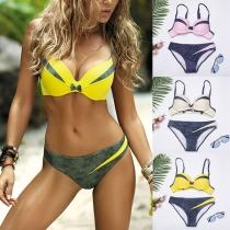 Sexy Push-up-Bikini-Set mit Kontrastierenden Farben und Niedriger Taille