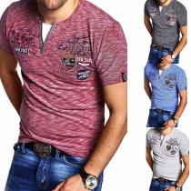 Lässiges T-Shirt für Herren mit Kurzen Ärmeln und V-Ausschnitt