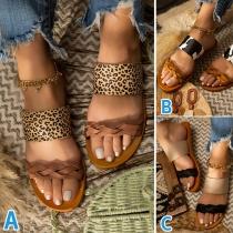Mode Slippers mit Offenen Zehen Leopardenmuster und Flachen Absätzen