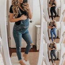 Lässiges Latzhose aus Jeansstoff für Schwanger Frauen mit Hoher Taille und Rissen
