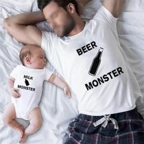 Lässiges T-Shirt für Vater und Sohn mit dem Text Milch- und Biermonster Kurzen Ärmeln und Rundhalsausschnitt