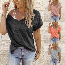 Einfaches T-Shirt mit Kurzen Ärmeln Rundhalsausschnitt Volltonfarbe und Lockerer Passform