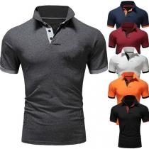 Modernes T-Shirt für Herren in Kontrastierenden Farben mit Kurzen Ärmeln und Polo-Kragen