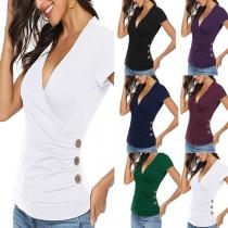 Sexy Top mit V-Ausschnitt Köpfen an der Seite Kurzen Ärmeln Volltonfarbe und Schlanker Passform
