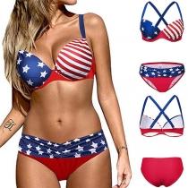 Sexy Bikini-Set Freiem Rücken Sternen- und Streifenmuster