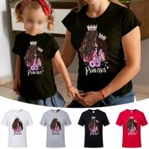Lässiges Mutter-Tochter-T-Shirt mit Prinzessin-Motiv Kurzen Ärmeln und Rundhalsausschnitt