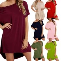 Sexy Kleid mit Schräger Schulter Kurzen Ärmeln Unregelmäßigem Saum Volltonfarbe und Lockerer Passform