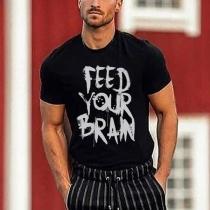 Lässiges Bedrucktes Herren-T-Shirt mit Kurzen Ärmeln und Rundhalsausschnitt