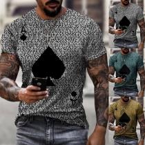 Lässiges Herren-T-Shirt mit Kurzen Ärmeln Rundhalsausschnitt und Schüppen-Motiv
