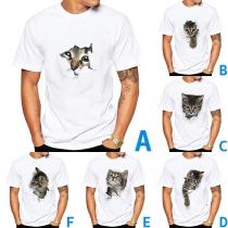 Niedliches T-Shirt mit 3D-Katzenmotiv Kurzen Ärmeln und Rundhalsausschnitt