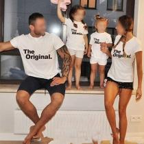 Lässiges mit Text Bedrucktes Eltern-Kind-T-Shirt mit Kurzen Ärmeln und Rundhalsausschnitt