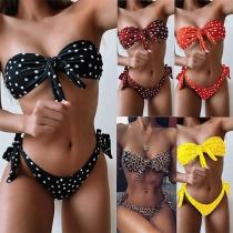 Sexy Bandeau Bikini Set mit Geknotetem Design Punktmuster und Niedriger Taille