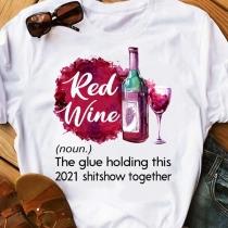 Lässiges mit Text Bedrucktes T-Shirt mit Rotweinflaschenmotiv Kurzen Ärmeln und Rundhalsausschnitt