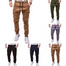 Lässiges Hose mit Elastischer Taille mit Tunnelzug Seitentaschen und Volltonfarbe