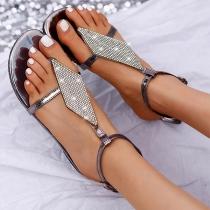 Modernes Sandalen mit Flachen Sohlen und Strass