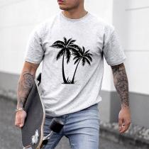 Lässiges T-Shirt mit Kurzen Ärmeln Rundhalsausschnitt und Kokospalmenmotiv