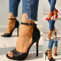 Sexy Hochhackige Offene Schuhe mit Freien Zehen und Knöchelriemchen