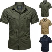 Modernes Hemd für Herren in Volltonfarbe mit Kurzen Ärmeln und Polo-Kragen