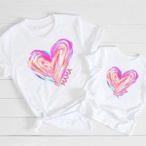 Lässiges T-Shirt für Mutter und Tochter mit Herzmotiv Kurzen Ärmeln und Rundhalsausschnitt