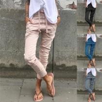 Lässige Hose in Volltonfarbe mit Elastischer Taille mit Tunnelzug (Die Größe fällt klein)