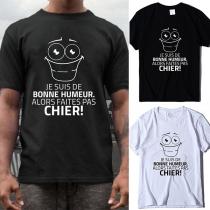 Niedliches T-Shirt für Herren mit Text und Cartoon-Motiv Kurzen Ärmeln und Rundhalsausschnitt