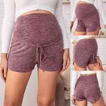 Moderne Shorts für Schwanger Frauen mit Hoher Taille und Volltonfarbe