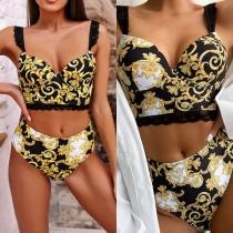 Sexy Bikini-Set mit Hoher Taille und Auffälligem Muster