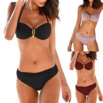Sexy Push-up-Bikini-Set mit Volltonfarbe Metallring und Niedriger Taille