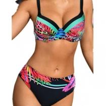 Sexy Bikini-Set mit Buntem Muster und Niedriger Taille