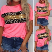 Casual Style Short Sleeve Round Neck Sequin Leopard Spliced Loose T-shirt