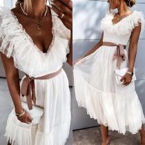 Sweet Style Ruffle V-neck High Waist Solid Color Gauze Princess Dress