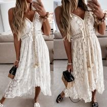 Sexy V-neck High Waist High-low Hem Solid Color Sling Lace Dress