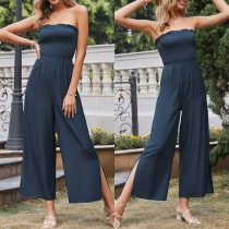 Sexy Strapless High Waist Solid Color Jumpsuit