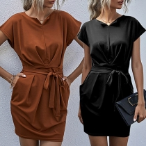 Fashion Solid Color Short Sleeve Round Neck Lace Dress for Daily Wear