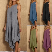 Chic Style Sleeveless Round Neck Solid Color irregular Hem Loose Dress