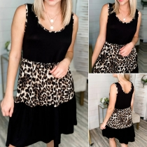 Casual Style Sleeveless Round Neck Leopard Spliced Loose Dress