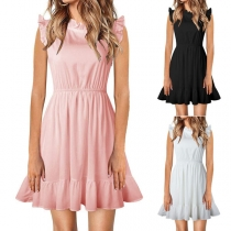 Sweet Style Sleeveless Round Neck High Waist Ruffle Dress