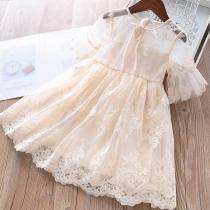 Süßes Prinzessin-Kleid für Kinder mit Kurzen Ärmeln Rundhalsausschnitt Tüll und Stickereien